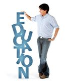 Man with word education Stock Image