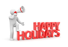 Man with word Happy Holidays. Man speaks in megaphone with word Happy Holidays Royalty Free Stock Photography