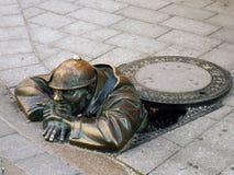 Man at work 2. Man at work in Bratislava, city landmark Stock Image