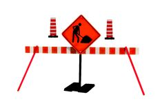 Man at work. Men at work road repair traffic warning sign . isolated white background Royalty Free Stock Photography