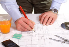 Man work with blue print Royalty Free Stock Images