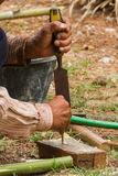 Man work with chisel Royalty Free Stock Image