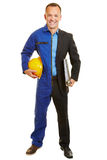 Man in work clothing of construction worker and manager Royalty Free Stock Image