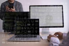 man work Coding software developer programmer is coding on a des stock photos