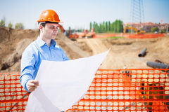 Man at work in a construction site Royalty Free Stock Photography