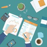 Man work with financial report, paper document with graphs and diagrams. Research, planning, analysis. View from above Vector Stock Photos