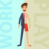 Man Between Work And Holiday Looks Stock Images