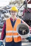 Man at work in landfills Royalty Free Stock Images