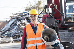 Man at work in landfills Royalty Free Stock Photography