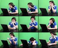 Man work with laptop. Emotional man in blue t-shirt work deep gray laptop and smile with green background in nine phase of working emotions Stock Photo