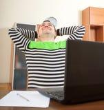 Man at work on laptop royalty free stock photo