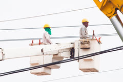 Man work on mobile crane Royalty Free Stock Image