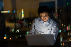 Man work at night Stock Photography