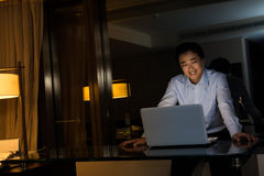 Man work at night Royalty Free Stock Images