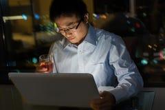 Man work at night Stock Photos