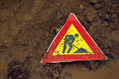 Man at Work road sign Stock Photo