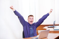Man at work, shouting Stock Images