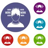 Man and work words icons set Royalty Free Stock Images