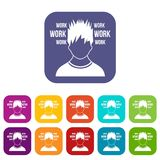 Man and work words icons set Royalty Free Stock Photography
