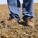 Man in workboots. Royalty Free Stock Photo