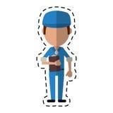 Man worker blue uniform clipboard and cap-cut line Stock Photos