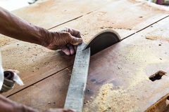 Man worker with Circular saw Royalty Free Stock Images