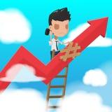 Man Worker Climbing  ladder Fixed Vector Stock Photography