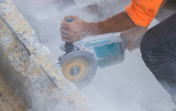 Man worker cutting concrete Royalty Free Stock Photos