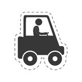 Man worker drive truck transport figure pictogram Stock Photos