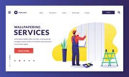 Free Man Worker Glues Wallpaper To Wall. Handyman Makes House Repair Works Renovate Room Walls. Vector Illustration Stock Image - 186894251