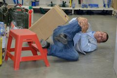 Man worker with knee injury concept accident at work. Man worker with knee injury concept of accident at work stock photo
