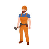 Man worker plumber, profession people uniform, cartoon vector illustration Royalty Free Stock Photos