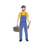 Man worker plumber, profession people uniform, cartoon vector illustration Stock Photo