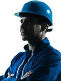 Man worker profile silhouette portrait Stock Photography
