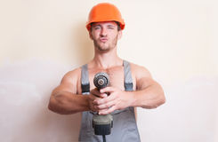 Man worker with a screwdriver Royalty Free Stock Photo