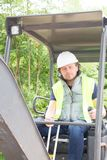 Man worker using digger in construction site. Construction man worker using digger in construction site Stock Image