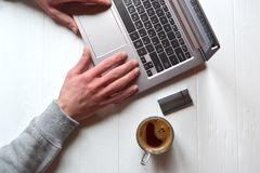 Man working behind laptop. Business background. Businessman working. Success background Royalty Free Stock Photo