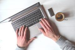 Man working behind laptop. Business background. Businessman working. Success background Stock Image