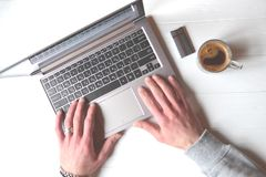 Man working behind laptop. Business background. Businessman working. Success background Stock Photo
