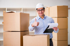 The man working in box delivery relocation service Royalty Free Stock Photos