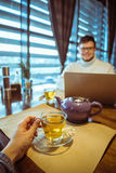 Man working in cafe Royalty Free Stock Photography