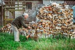 Man working, chopping firewood stock photo