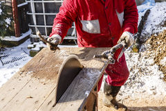 Man working with circular saw blade Royalty Free Stock Images