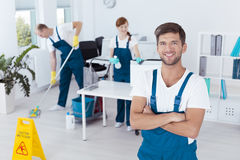 Man working for cleaning company Stock Photos