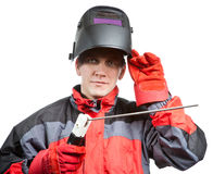 Man in working clothes and a welder mask Stock Photography