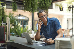 Man Working Coffee Shop Cafe Concept Stock Photography