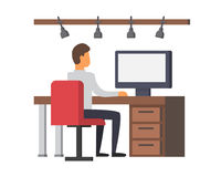 Man working on computer. Business office vector Royalty Free Stock Photos