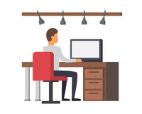 Man working on computer. Business office vector Stock Image