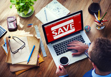 Man Working Computer E-Commerce Retail Promotion Sale Concept Royalty Free Stock Photos
