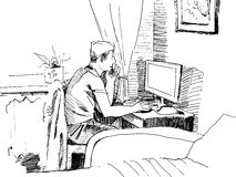 Man working on a computer. Hand-drawing. Line-art stock illustration